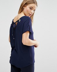 New Look Tie Back T Shirt Blue