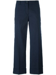Alberto Biani Striped Cropped Trousers Blue