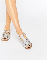 New Look Metallic Plait Detail Flat Sandals Silver
