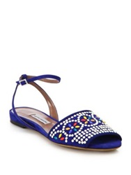 Tabitha Simmons Beaded Flat Suede Sandals Black White Blue Multi