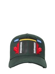 Dsquared Cotton Gabardine Baseball Hat Forest Green