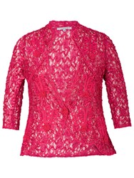 Chesca Cornelli Trimmed Lace Jacket Pink