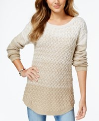 It's Our Time Juniors' Ombre Mixed Knit Tunic Sweater Dry Dessert Spiritual Vanilla