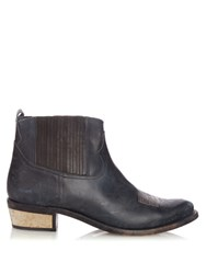 Golden Goose Brielle Western Leather Boots Blue