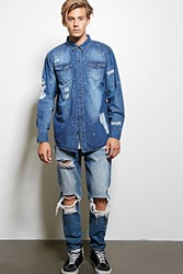 Forever 21 Victorious Ripped Denim Shirt Indigo