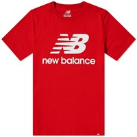 New Balance Essentials Stacked Logo Tee Red