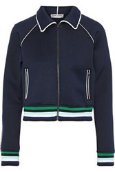 Opening Ceremony Woman Ruffle Trimmed Neoprene Track Jacket Navy
