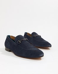 Hudson H By Banchory Bar Loafers In Navy Suede