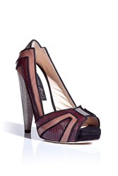 Chrissie Morris Bordeaux Nude Peep Toe Platform Pumps Gr. 36