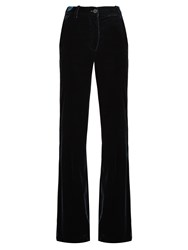 Roberto Cavalli High Rise Wide Leg Velvet Trousers Dark Green