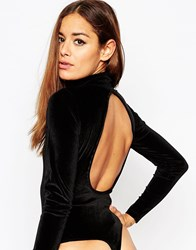 Asos High Neck Velvet Backless Body Black