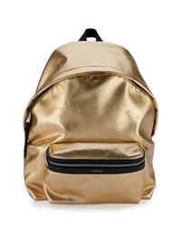 Saint Laurent Metallic Leather Backpack Gold