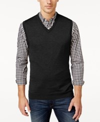Club Room Men's Big And Tall V Neck Merino Wool Sweater Vest Only At Macy's Deep Black