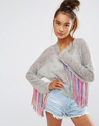 The Ragged Priest Fine Knit Jumper With Tassel Trim Sleeves White