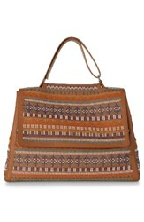Orciani Studded Leather Top Handle Tote Brown Honey