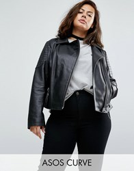 Asos Curve Ultimate Leather Biker Jacket With Quilting Detail Black