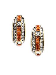 Heidi Daus Square Crystal J Hoop Earrings Orange
