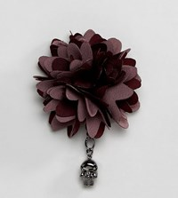 Noose And Monkey Large Bi Color Flower Lapel Pin Red