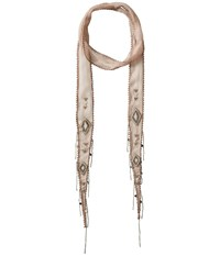 Chan Luu Viscose Chiffon Solid Skinny Scarf With Coin Embellishments Etherea Scarves Beige