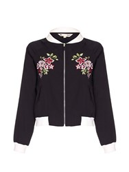 Yumi Bomber Jacket With Floral Embroidery Black