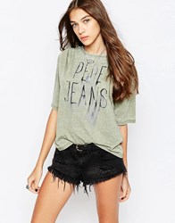 Pepe Jeans Jamy Smudged Logo T Shirt 706Washed Army Green