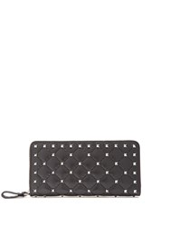 Valentino Rockstud Spike Quilted Leather Continental Wallet Black