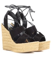 Saint Laurent Espadrille 95 Suede Wedge Sandals Black
