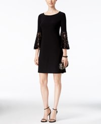 R And M Richards Petite Lace Bell Sleeve Dress Black