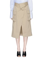 Monse Foldover Waist Cotton Canvas Wrap Skirt Neutral