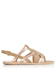 Ancient Greek Sandals Enyo Leather And Suede Nude Gold