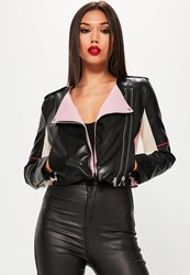 Missguided Black Colour Block Faux Leather Biker Jacket