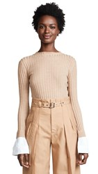 Edition10 Ribbed Sweater With Cuffs Sand