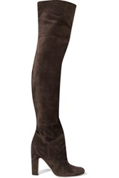 Brian Atwood Rommy Suede Over The Knee Boots Dark Gray
