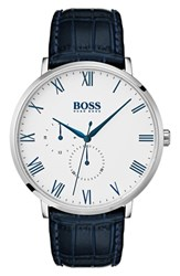 Boss William Leather Strap Watch 40Mm White Blue