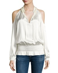 Ramy Brook Jamie Charmeuse Cold Shoulder Top Soft White