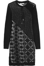 Sandro Riviera Lace Paneled Crochet Knit Mini Dress Black