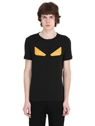 Fendi Monster Studded Leather And Cotton T Shirt