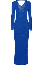 La Perla Beyond The Beach Crocheted Maxi Dress Bright Blue