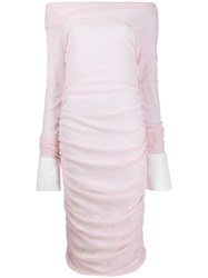 Jourden Stretched Off Shoulder Dress Pink