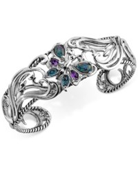 Carolyn Pollack Multi Gemstone Butterfly Bracelet 2 1 5 Ct. T.W. In Sterling Silver