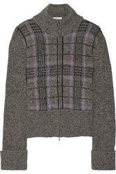 Valentino Plaid Wool And Cashmere Blend Jacket Gray