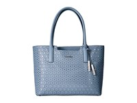 Calvin Klein Perforated Novelty Leather Tote Robins Egg Tote Handbags Blue