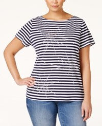 Karen Scott Plus Size Striped Graphic T Shirt Only At Macy's Intrepid Blue