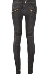 Balmain Moto Style Distressed Low Rise Skinny Jeans Gray