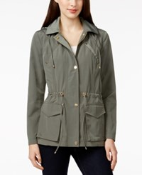 Charter Club Petite Long Sleeve Hooded Anorak Jacket Only At Macy's Bright Green