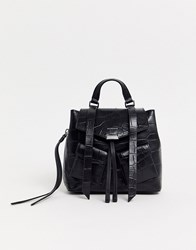 Allsaints Polly Mini Croc Effect Leather Backpack Black