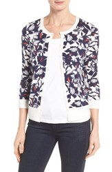 Halogenr Women's Halogen Three Quarter Sleeve Crewneck Cardigan Navy Orange Floral
