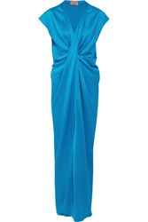 Lanvin Twist Front Washed Satin Maxi Dress Azure