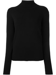Victoria Beckham Ribbed Button Back Cardigan Black