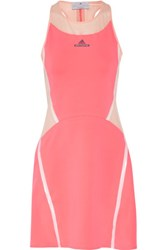 Adidas By Stella Mccartney Mesh Paneled Stretch Jersey Dress Papaya
